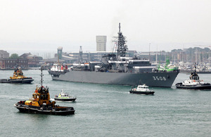 JDS Kashima passes Fort Blockhouse as she enters Portsmouth Harbour, July 2013